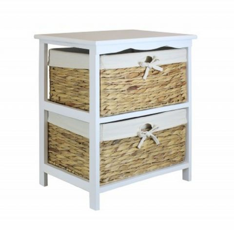 White 2 Basket Bedside Drawer Table Unit H 55 x W 49cm